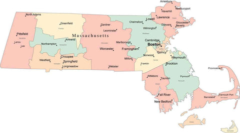 Multi Color Massachusetts Map with Counties, Capitals, and Major Cities