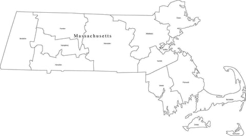 Black & White Massachusetts Digital Map with Counties