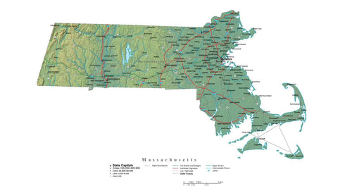 Digital Massachusetts State Illustrator cut-out style vector with Terrain MA-USA-242020