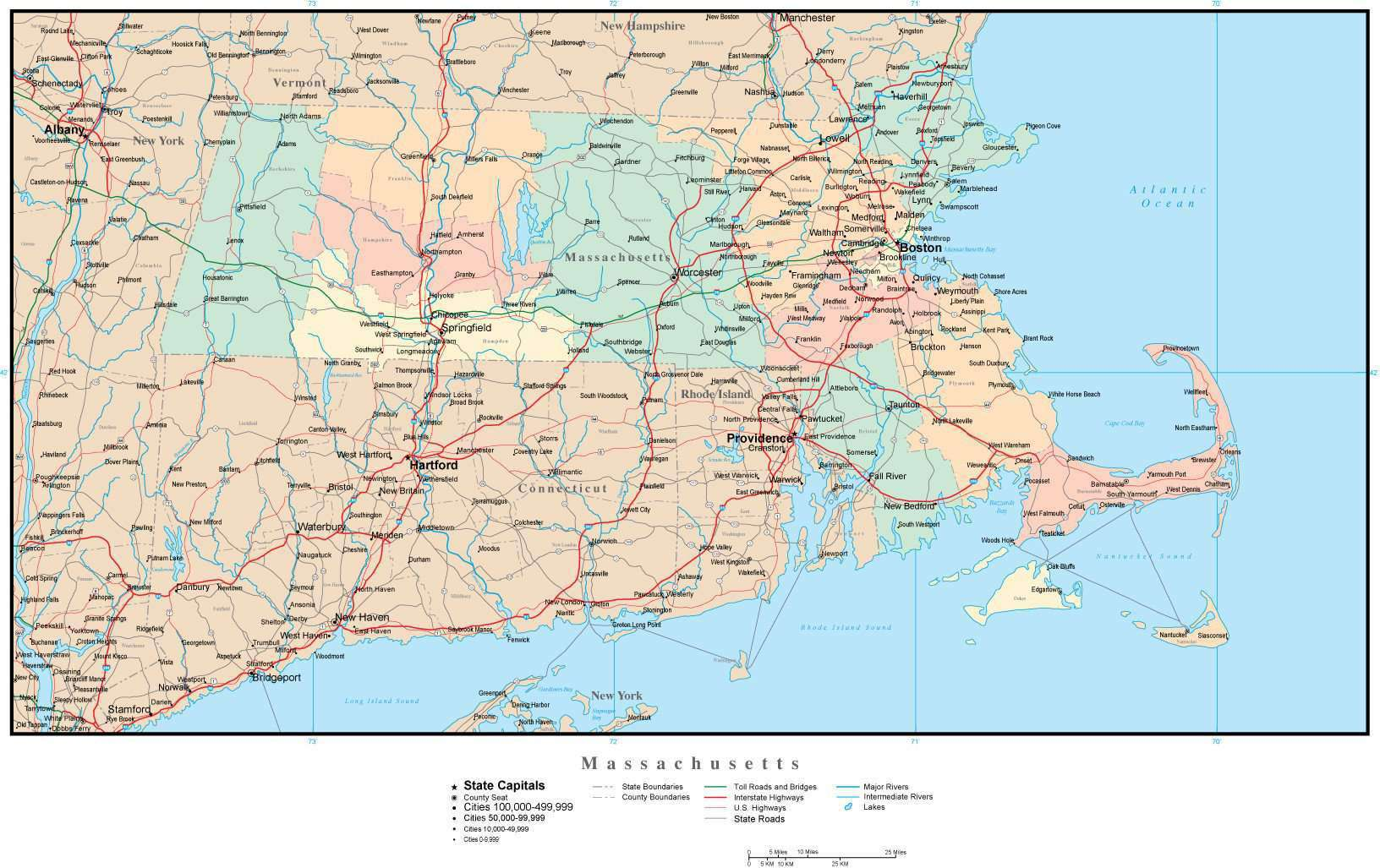 Massachusetts Map with Counties, Cities, County Seats, Major Roads, Rivers  and Lakes