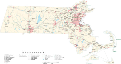 Poster Size Massachusetts Cut-Out Style Map with County Boundaries, Cities, Highways, National Parks, and more