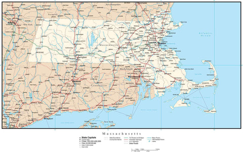 Massachusetts Map with Capital, County Boundaries, Cities, Roads, and Water Features