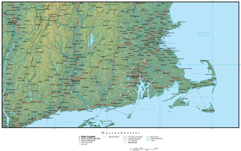 Digital Massachusetts Terrain map in Adobe Illustrator vector format with Terrain MA-USA-942208