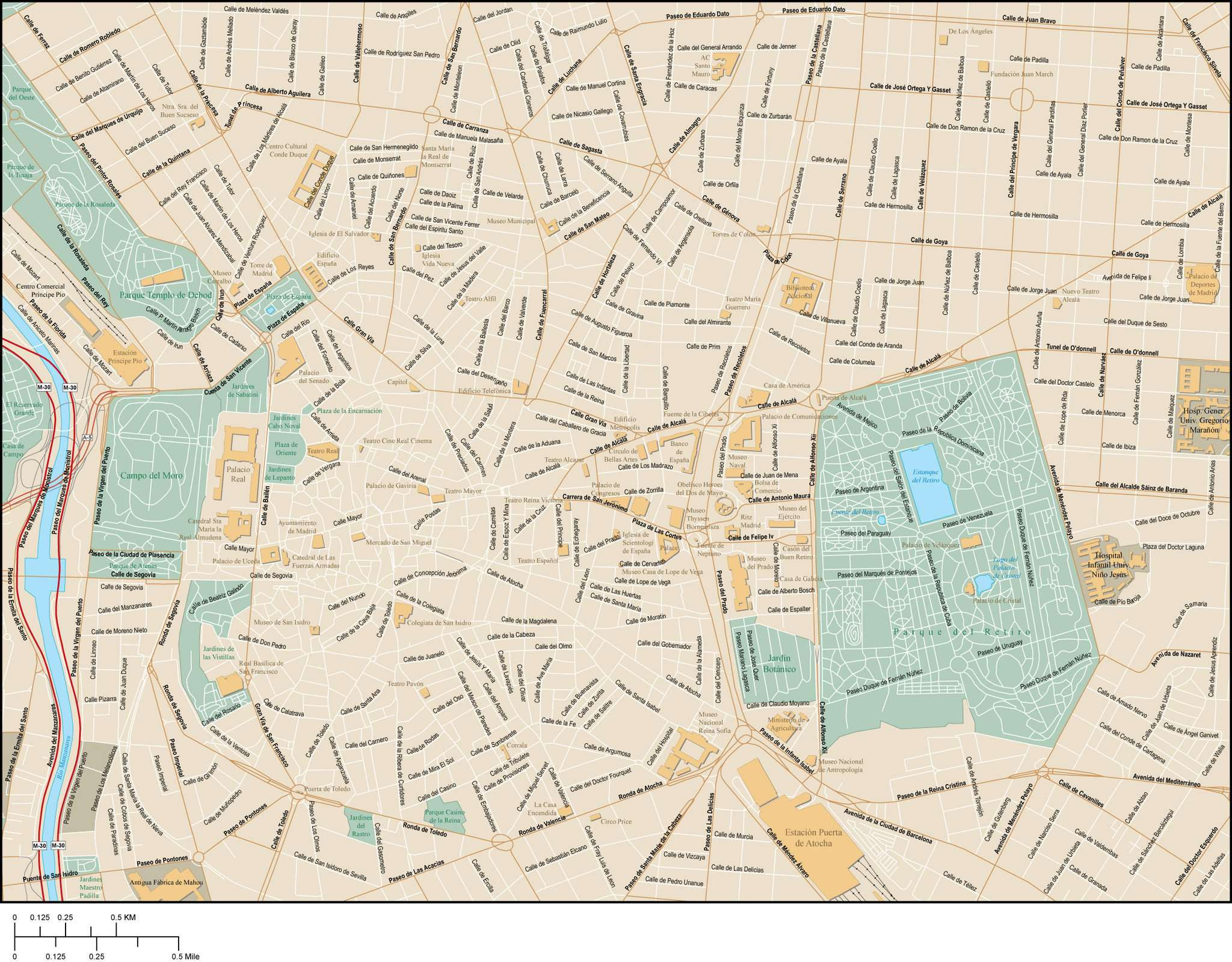 Madrid Downtown Area Map With Local Streets In Adobe Illustrator