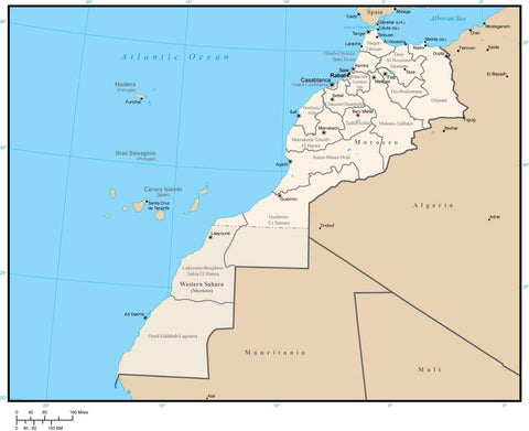 Morocco Map with Administrative Areas and Capitals