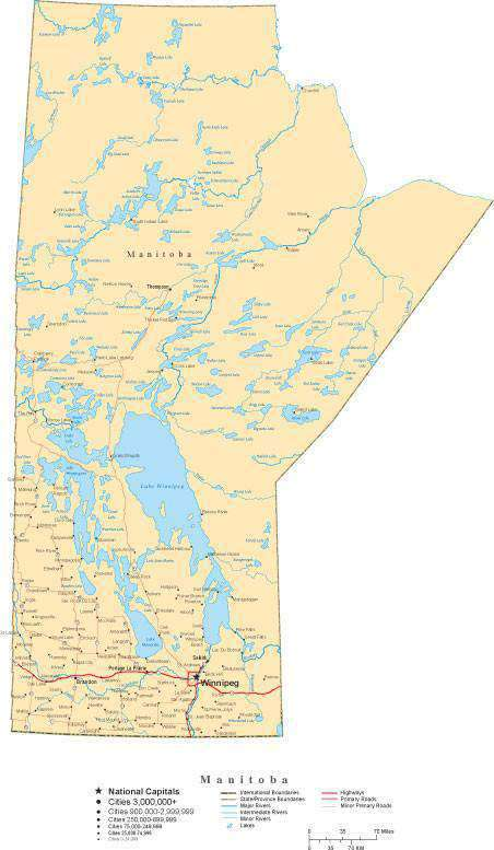 Manitoba Map In Adobe Illustrator Vector Format Map Resources