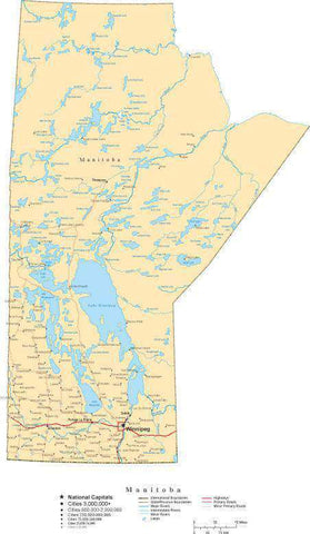 Manitoba Province Map - Cut-Out Style