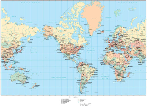 World Map - America Centered - with Countries, Capitals, Cities, US States, Canadian Provinces, and Roads