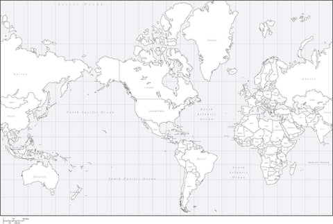Digital World Map with Countries - US Centered - Black & White