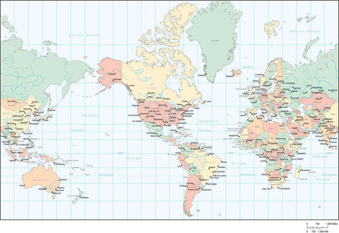 World Map - Multi Color Americas Centered, with Countries, Capitals, Major Cities and Water Features