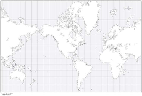 World Black & White Blank Outline Map - America Center
