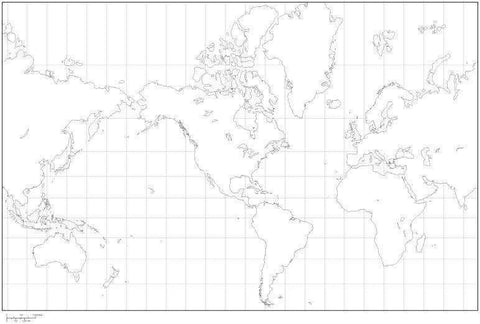 Digital World Blank Outline Map - America Centered - Black & White