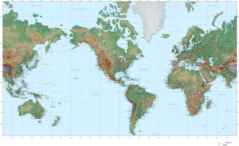 35 x 22 Inch Poster Size World Map - America Centered - High Detail plus Color Terrain - Mercator projection