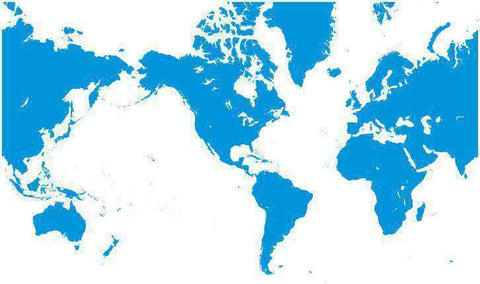 Digital World Single Color Blank Outline Map in Blue - America Centered