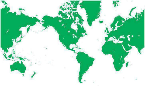World Single Color Blank Outline Map in Green