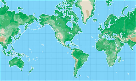 World Map with Land Contours - Americas Centered
