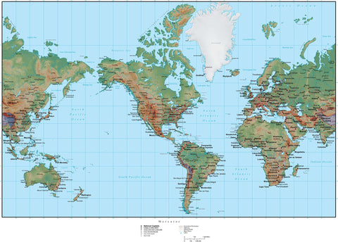 World Terrain map in Adobe Illustrator vector format with Photoshop terrain image MC-AMR-952795