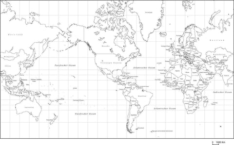 Black & White World Map with Country Names in German
