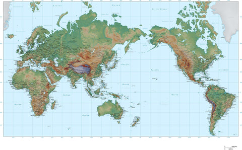 35 x 22 Inch Poster Size World Map - Asia Centered - High Detail plus Color Terrain - Mercator projection