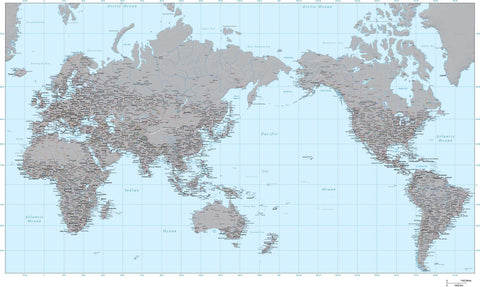 35 x 22 Inch Poster Size World Map - High Detail plus Grayscale Terrain - Asia Centered