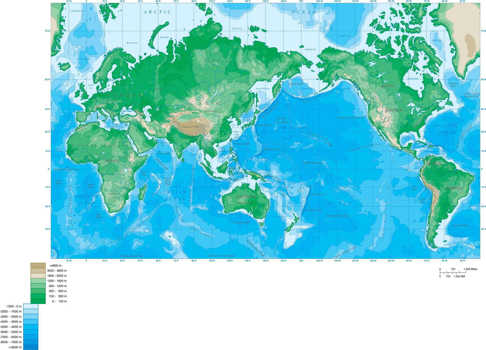 World Map with Contours - Mercator Projection