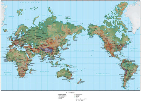 World Map Plus Terrain - Asia Centered Mercator Projection