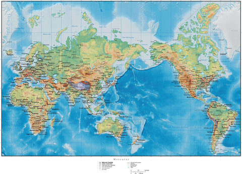 World Map with Terrain - Mercator Projection