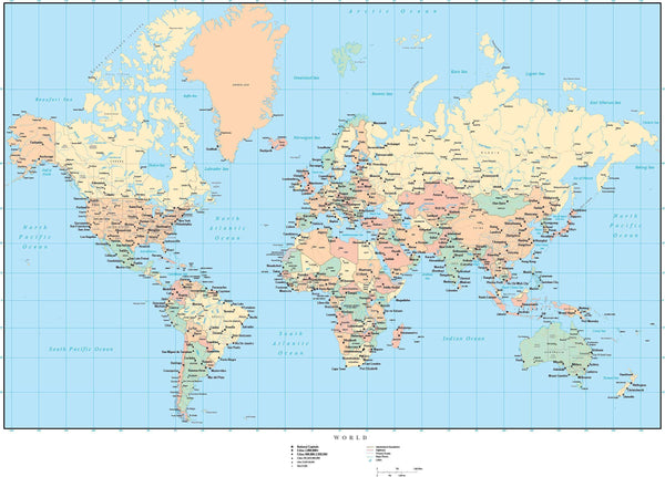 Canada On A Map Of The World.World Vector Map Europe Centered With Us States Canadian Provinces