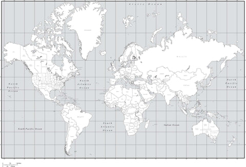 Black & White World Map with Countries  US States  and Canadian Provinces