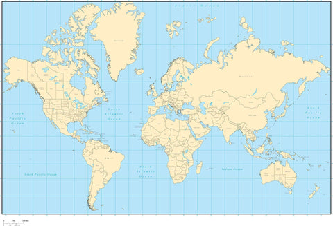 Single Color World Map with Countries  US States  and Canadian Provinces