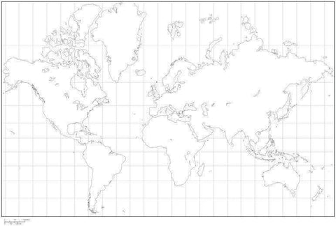 Mercator Projection World Black & White Blank Outline Map