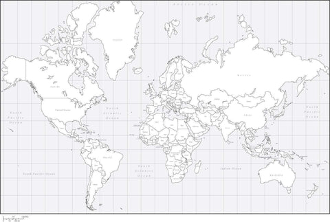 World Black & White Map with Countries - Mercator Europe Centered Projection