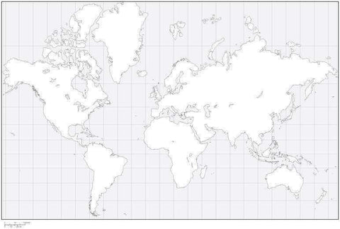 World Black & White Blank Outline Map - Europe Center