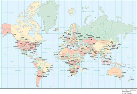 World Map - Multi Color Europe Center with Countries, Capitals, Major Cities and Water Features