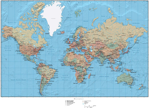 World Map plus Country Objects and Land & Ocean Floor Terrain - Mercator Projection