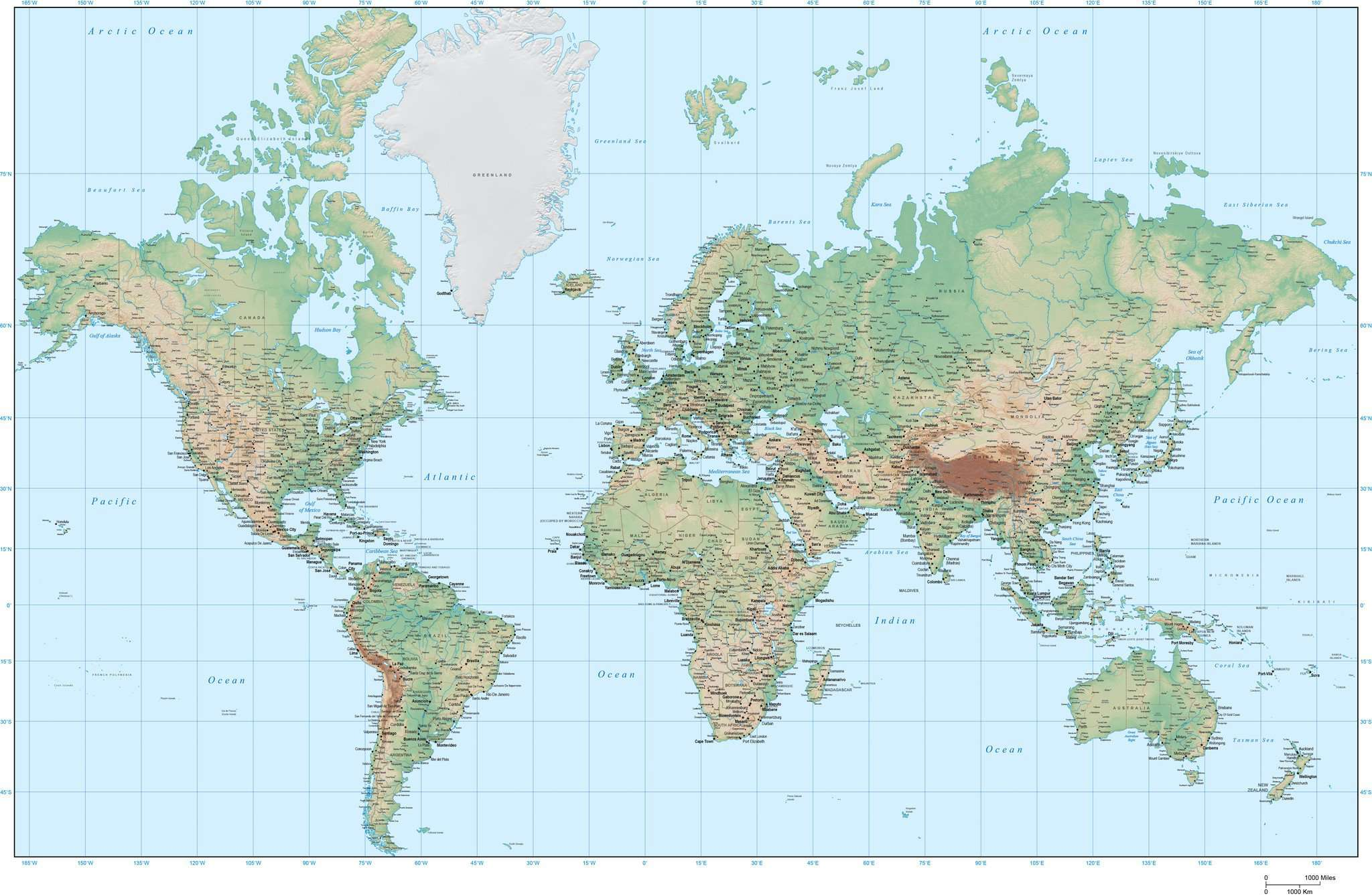 Digital World Terrain Map In Adobe Illustrator With Photoshop - World map poster