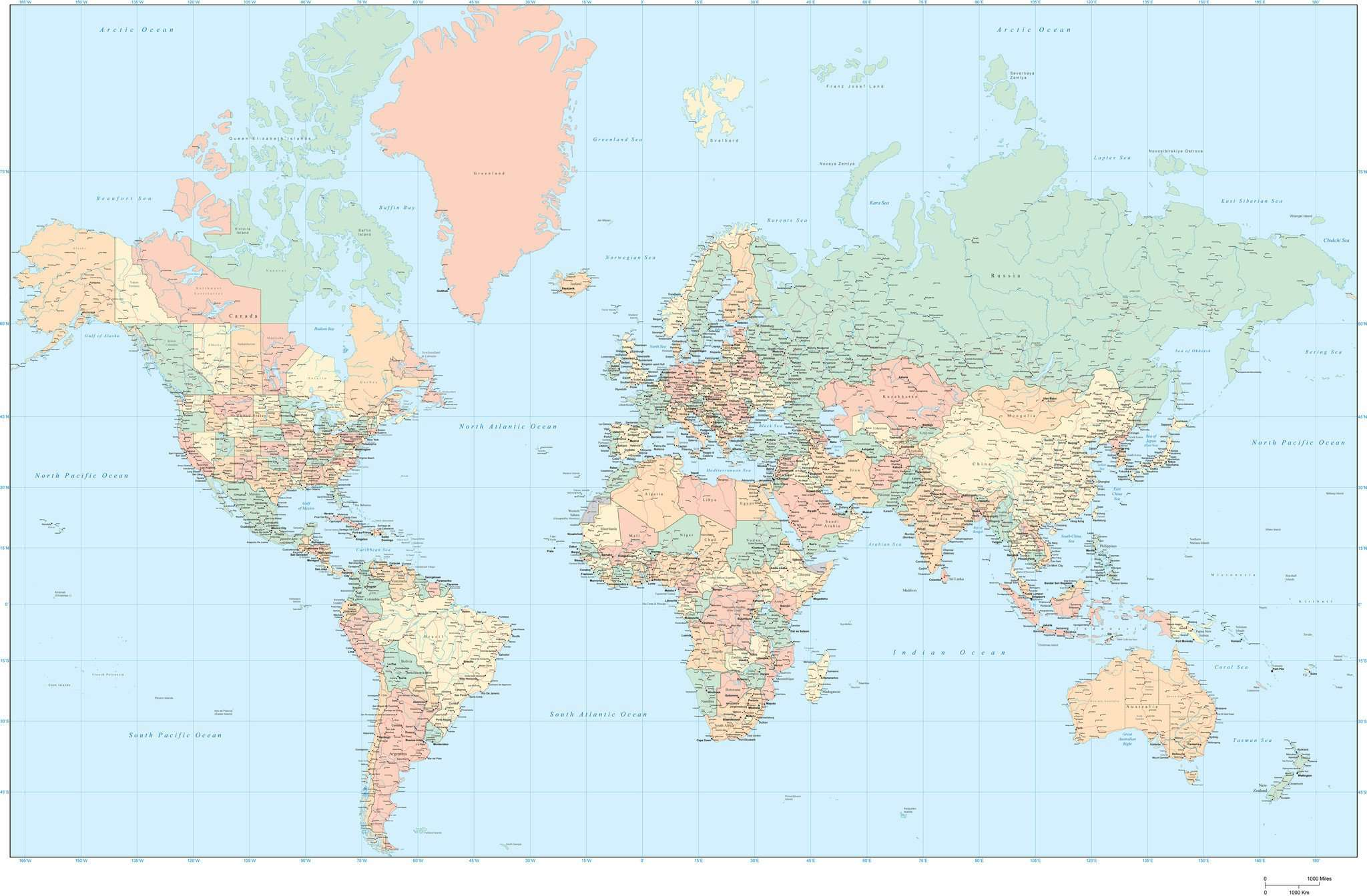 World Map with US States and Canadian Provinces Adobe