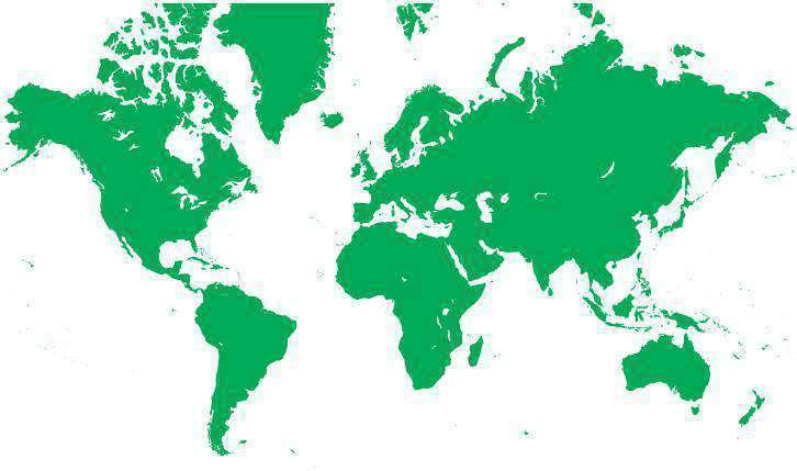 World Single Color Blank Outline Map In Green Europe Centered