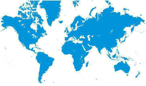 World Single Color Blank Outline Map in Blue - Europe Centered
