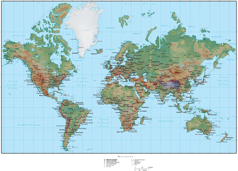 World Terrain map in Adobe Illustrator vector format with Photoshop terrain image MC-EUR-952947