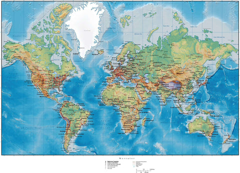 World Map with Land and Ocean Floor Terrain - Mercator Projection
