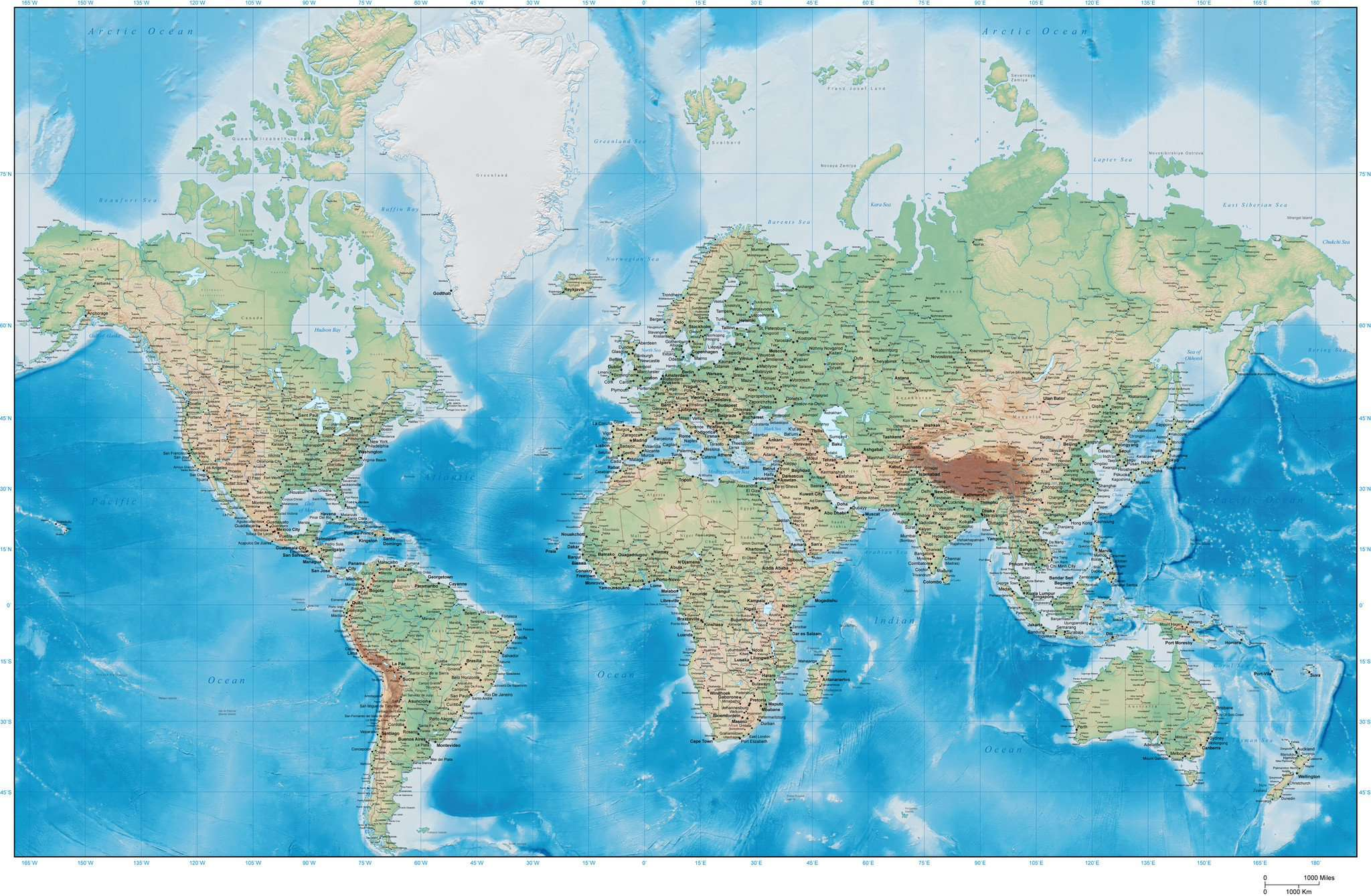 Digital Poster Size This World Map with Terrain in Adobe