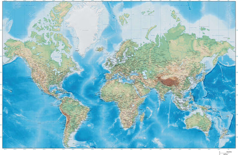 World Map Plus Terrain - 35 x 22 - Europe Centered Mercator Projection