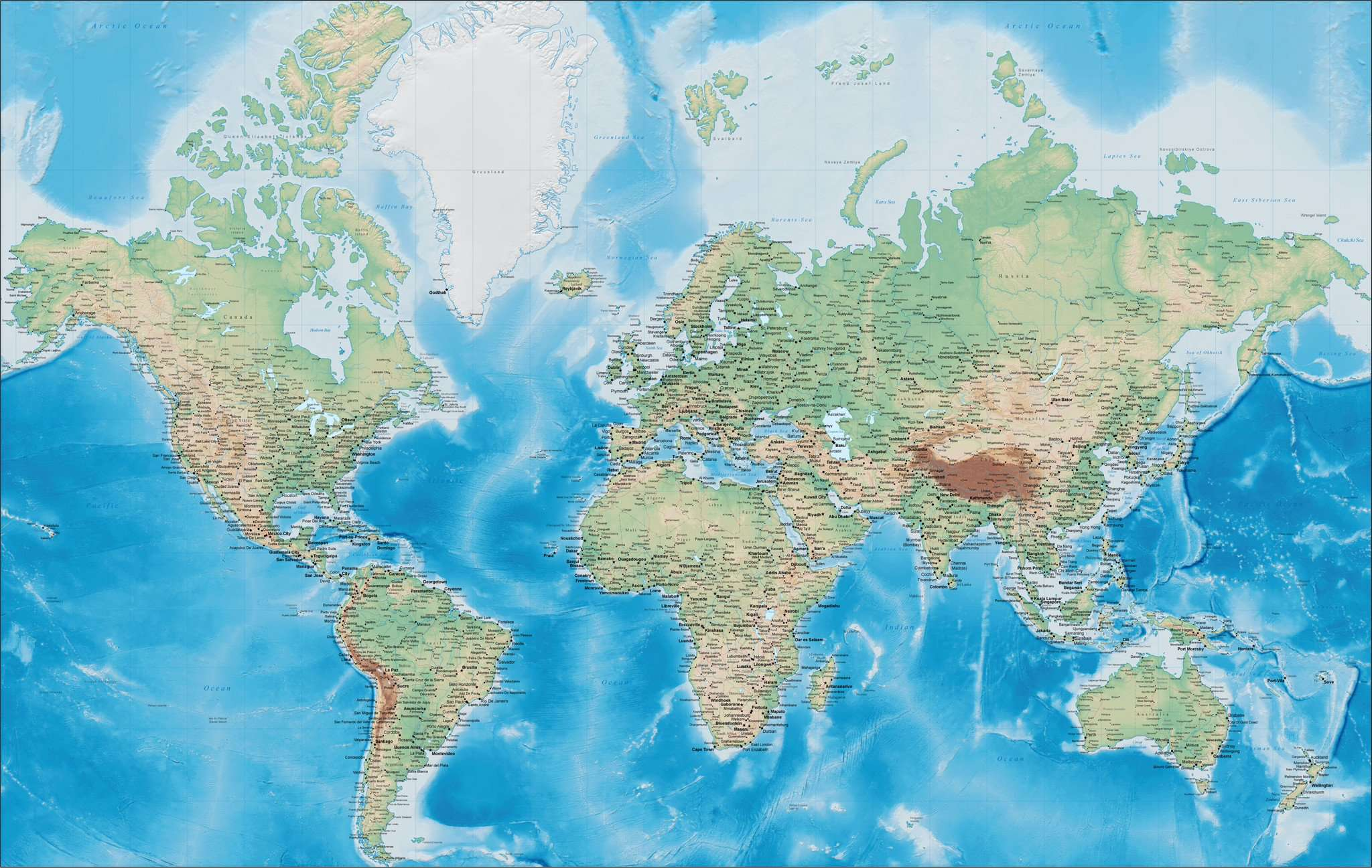 World Digital Terrain Map Mercator Projection Europe Centered