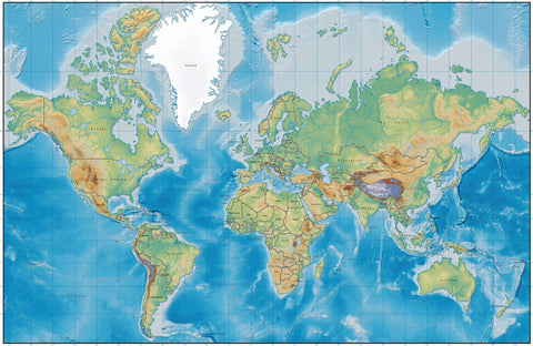 Digital World Terrain map in Adobe Illustrator vector format with Terrain MC-EUR-DE5257