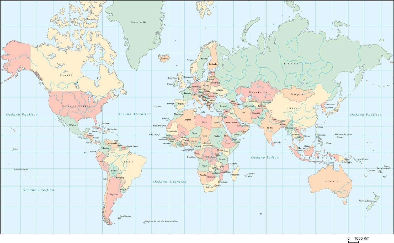 World Map Multi Color with Country Names in Spanish -Adobe ...