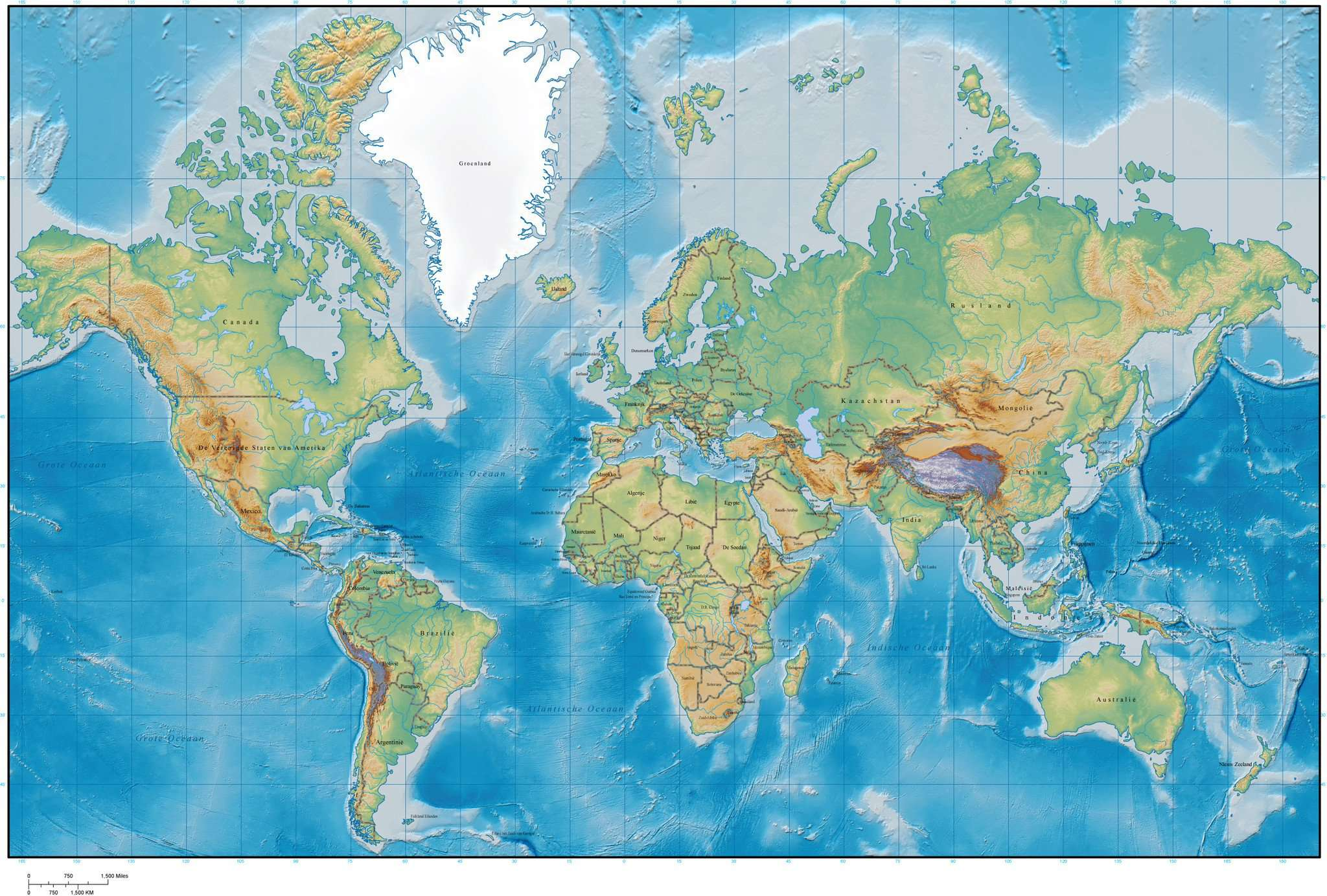 World Map with Land and Ocean Floor Terrain and Country Names in Dutch