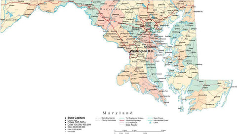 Maryland State Map - Multi-Color Cut-Out Style - with Counties, Cities, County Seats, Major Roads, Rivers and Lakes