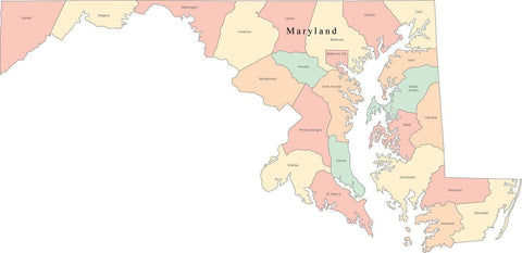 Multi Color Maryland Map with Counties and County Names