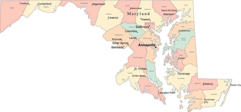Multi Color Maryland Map with Counties, Capitals, and Major Cities